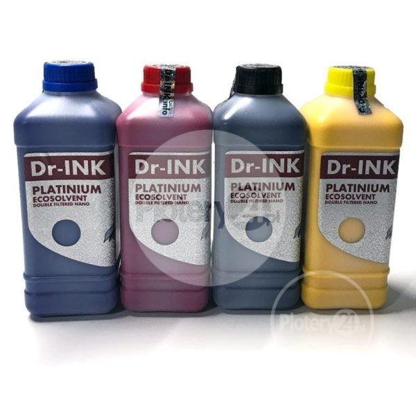 Zestaw startowy Dr-INK Ecosolvent PLATINIUM Double Filtered Nano Atrament Tusz CMYK+F 5L + lejki Mutoh / Roland / Mimaki